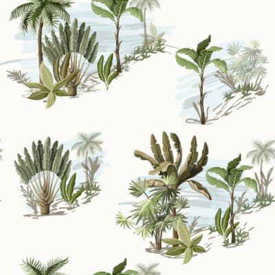 Tapeta Wzór z egzotycznych drzew, takich jak palmy i banany na krajobraz. Tapeta w stylu vintage wnętrza.