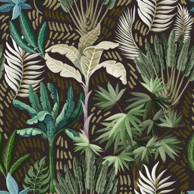 Tapeta Wzór z egzotycznych drzew, takich jak palmy i banany. Tapeta w stylu vintage wnętrza.