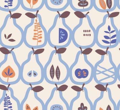 Tapeta wzór z gruszek i liści