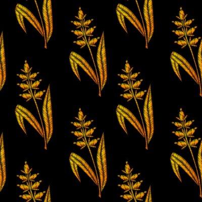 Tapeta Wzór z imitacją szwów złotym haftem pszennym