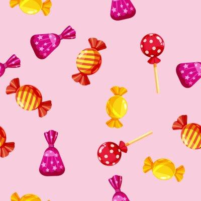 Tapeta Wzór z kolorowych czekoladek w opakowaniu, karmel, czekolada. Śliczny ornament dla pakować, tkanina, tło, sztandar, plakat, wektor, ilustracja, odizolowywająca, kreskówka styl