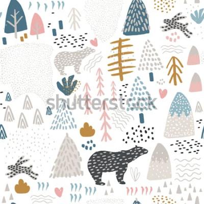 Tapeta Wzór z królika, niedźwiedzia polarnego, elementy lasu i ręcznie rysowane kształty. Dziecinna tekstura. Idealne do tkanin, ilustracji wektorowych włókienniczych
