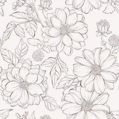 Tapeta Wzór z kwiatów dalii. Ręcznie rysowane linie konturu i obrysy.
