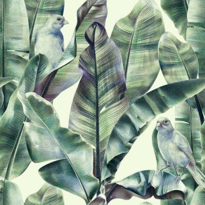 Tapeta Wzór z liści bananów i egzotycznych ptaków na delikatnym beżowym tle. Tropikalne tło w odcieniach zieleni dla tkanin, tapet, tekstyliów. Ilustracja z kredkami.