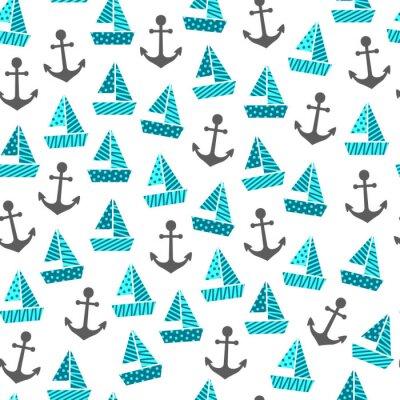 Tapeta wzór z łodziami i kotwicami