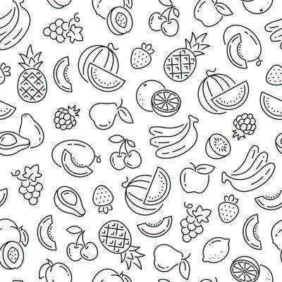 Tapeta Wzór z owocami. Ikony czarno-białe cienka linia