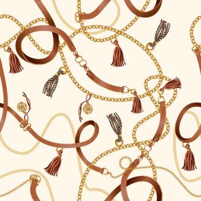 Tapeta Wzór z paskami, łańcuchem i warkoczem do projektowania tkanin. Wektor.