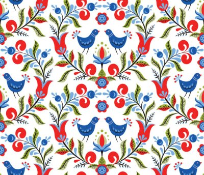 Tapeta Wzór z ptakami i kwiatami