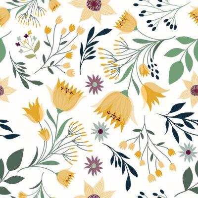 Tapeta Wzór z ręcznie rysowane elementy, kwiaty i rośliny