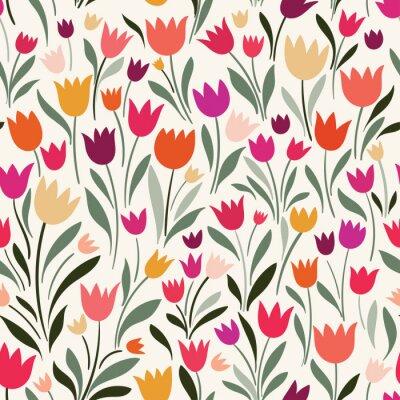Tapeta Wzór z ręcznie rysowane tulipany