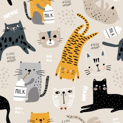 Tapeta Wzór z różnych śmieszne koty i butelkę mleka. Kreatywna dziecinna tekstura. Idealne do tkanin, ilustracji wektorowych włókienniczych