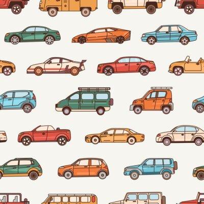 Tapeta Wzór z samochodami o różnych stylach konfiguracji nadwozia - kabriolet, sedan, pickup, hatchback. Tło z nowoczesnymi samochodami różnych typów. Ilustracja wektorowa w stylu sztuki linii.