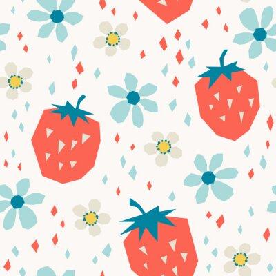 Tapeta wzór z truskawek i kwiatów