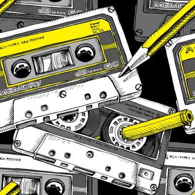 Tapeta Wzór z wizerunkiem kasety audio i żółty ołówek. Ilustracji wektorowych.