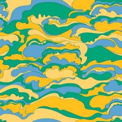 Tapeta Wzór z wizerunkiem kremowej tekstury odcieni zieleni, pomarańczu i niebieskiego. Abstrakcyjne tło.