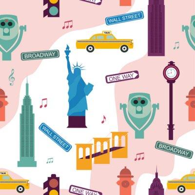 Tapeta Wzór z zabytkami Nowego Jorku. Ilustracja wektorowa edycji