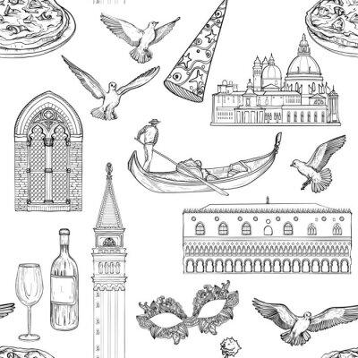 Tapeta Wzór z zabytków Wenecji, czarno-białe tło atrakcji turystycznych.