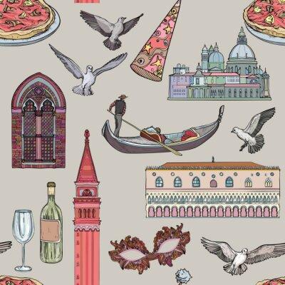 Tapeta Wzór z zestawem Wenecji i atrakcji turystycznych