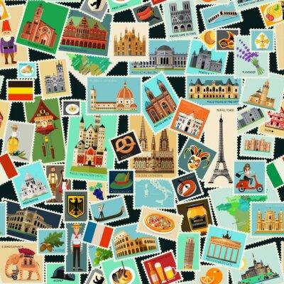 Tapeta Wzory znaczków pocztowych