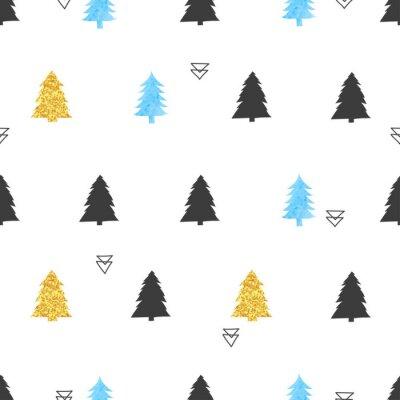 Tapeta Deseń choinki. Bez szwu tÅ,a wakacje wektorowe w kolorach niebieskim, czarnym i zÅ,otym.