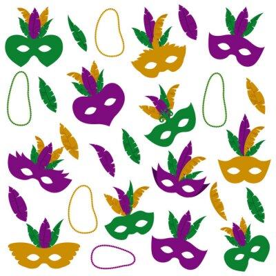 Tapeta karnawałowa maska z piórami i naszyjnikiem