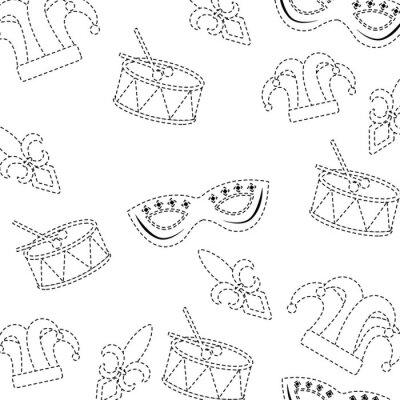 Tapeta maska bębna arlekin kapelusz fleur de lis karnawał akcesorium wzór obrazu wektorowe ilustracja projektowe czarnym linia przerywana
