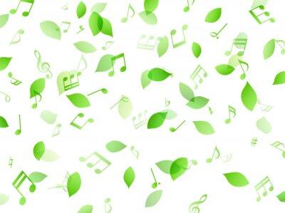 Tapeta 舞う緑の葉と音符 背景素材