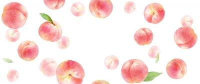 Tapeta ジューシーな桃の背景。水彩イラスト。コピースペースあり。横長サイズ。