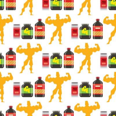 Tapeta Sporta odżywiania zdrowej karmowej sprawności fizycznej diety bodybuilding proteine władzy napoju sportowego nadprograma tła wektorowa energetyczna bezszwowa deseniowa ilustracja.