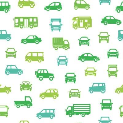 Tapeta 色々な車のアイコンのシームレスパターン背景(シルエット)エコカラー