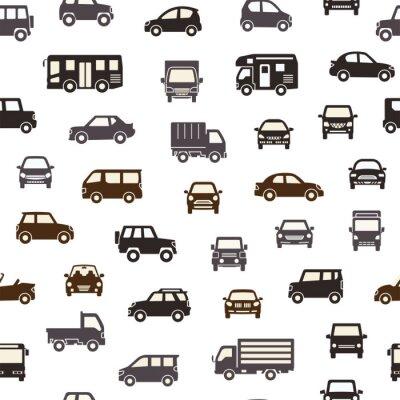 Tapeta 色々な車のアイコンのシームレスパターン背景(シルエット)シックカラー