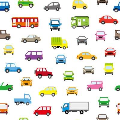 Tapeta 色々な車のアイコンのシームレスパターン背景(ポップカラー)