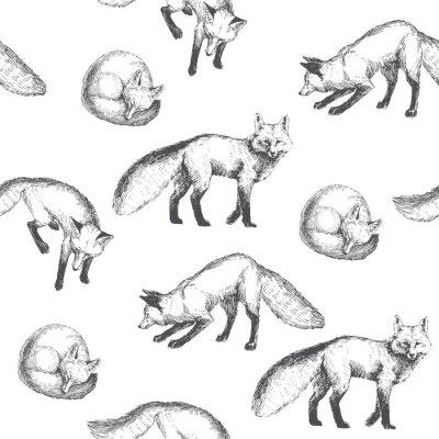 Tapeta Wektor bezszwowych wzór z cute znaków zwierząt. Rę cznie rysowane ilustracji z chodzenia, gry i spania lisów samodzielnie na tle. Czarno-biała tekstura w stylu szkicu