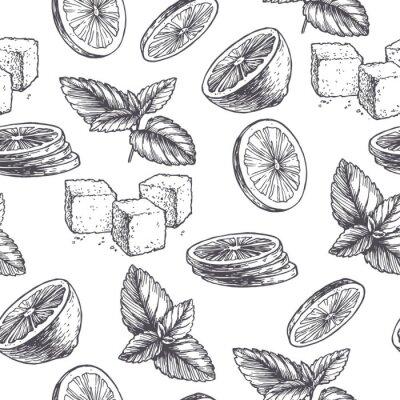 Tapeta Wektorowego rocznika bezszwowy wzór z składnikami dla koktajlu. Ręcznie rysowane kolor tekstury z liśćmi mięty pieprzowej, zielonymi plasterkami limonki i cukru w stylu grawerowania. Szkic przypraw