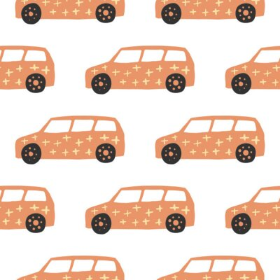 Tapeta Yelow car seamless pattern. Doodle cars vector illustration.