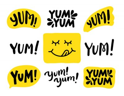 Tapeta Yum Yum words set. Printable graphic tee. Design doodle for print. Vector illustration. Colorful. Cartoon hand drawn calligraphy style. Yellow Black and white