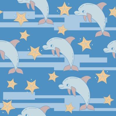 Tapeta Zabawna kreskówka delfiny i rozgwiazdy. Bezszwowych t? A deseniu do tkanin lub książek obejmuje, budowa, tapety, drukowanie, pakowania prezentów i scrapbookingu.