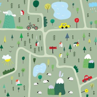 Tapeta Zabawna mapa bez szwu deseń z natury, krajobrazu i kempingu