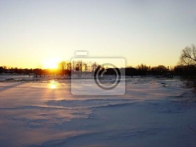 zachód słońca zima