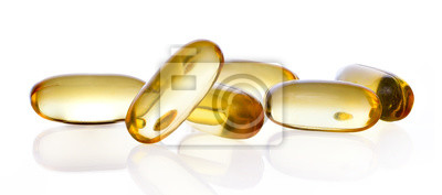Tapeta Zamknij kapsułki wypełnione olejem z suplementów diety odpowiednie dla: oleju z ryb; omega 3; omega 6; omega 9; wiesiołek; olej z ogórecznika; olej z nasion lnu; witamina A; witamina D; witamina D3; w