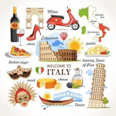 Tapeta Zapraszam do Włoch symbolami określonymi
