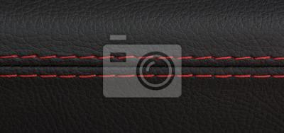 Tapeta zbliżenie strzał z czarnej skóry fotelik z czerwonym ściegu, luksusowy samochód sportowy
