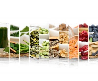 Tapeta Zdjęcie z Chlorella, jagody i nasiona abstrakcyjnych plasterki mix