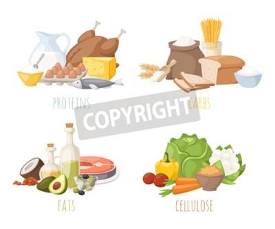 Tapeta Zdrowe odżywianie, białka tłuszcze węglowodany zbilansowana dieta, gotowanie, kulinarne i koncepcji żywności wektor. Zdrowe odżywianie białka węglowodany tłuszcze warzywa owoce, mięso i zdrowego żywie