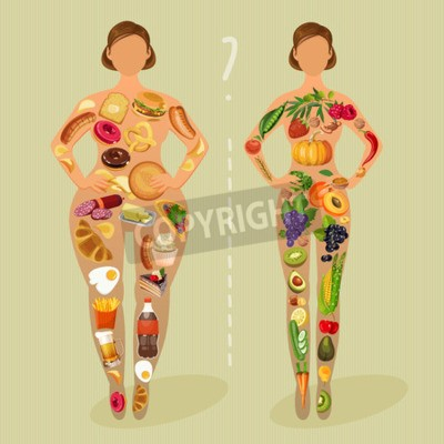 Tapeta Zdrowy styl życia, zdrowe odżywianie i codzienną rutyną. Dieta. Wybór dziewcząt: bycie tłuszczu lub szczupły. Zdrowy styl życia i złe nawyki.