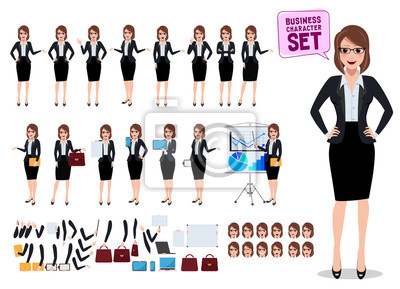 Tapeta Żeńscy biznesowi charaktery ustawiający z biurową kobietą stoi i opowiada z różnorodną pozą i gestem dla biznesowej prezentaci odizolowywającej w bielu. Ilustracji wektorowych.