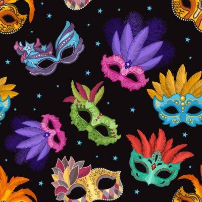 Tapeta Zestaw bez szwu wzór z maski karnawałowe. Ilustracje stron w stylu cartoon