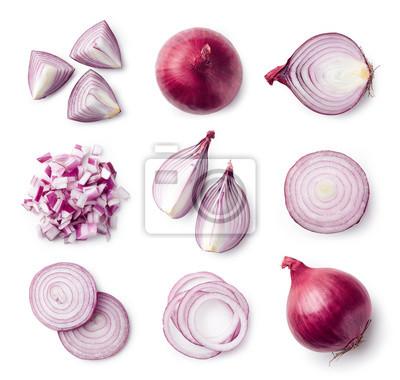 Zestaw całych i pokrojonych w plasterki czerwonej cebuli