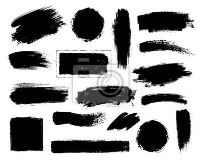 Tapeta Zestaw czarnej farby, pędzla tuszu.