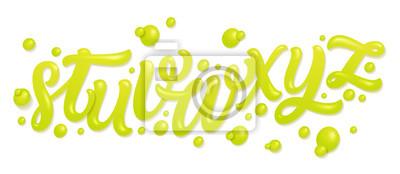 Tapeta Zestaw czcionek z literami. Alfabet z świeżych soków wapiennych samodzielnie na białym tle. Listy płynne. Ilustracji wektorowych z wody.
